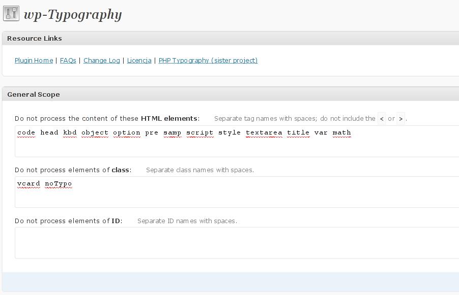wp-Typography - Domyślna konfiguracja