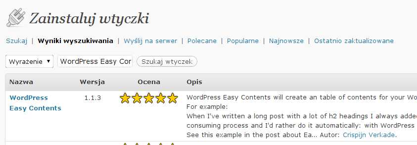 Instalacja WordPress Easy Contents