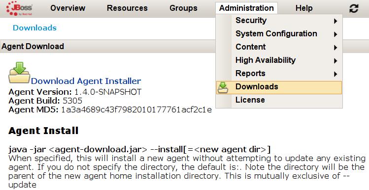 RHQ Server: pobranie agenta monitorującego