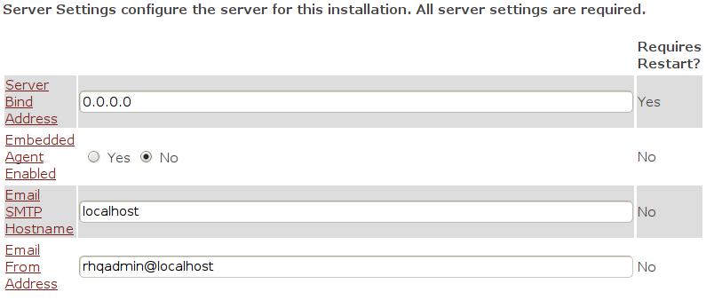 Instalacja RHQ Server - parametry serwera