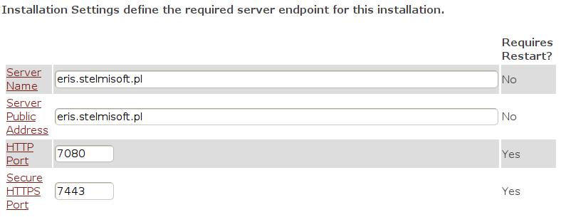 Instalacja RHQ Server - parametry instalacji