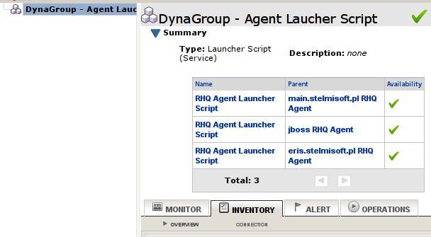 RHQ Server - lista zasobów grupy dynamicznej