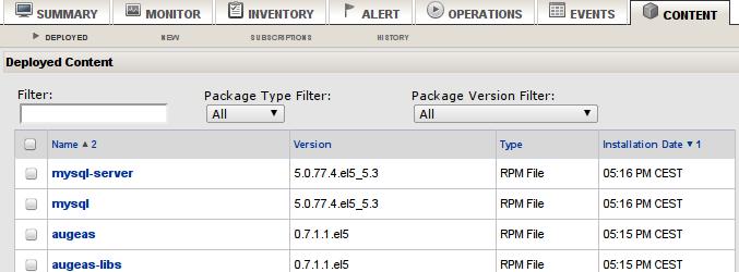 RHQ Server: lista zainstalowanych pakietów RPM