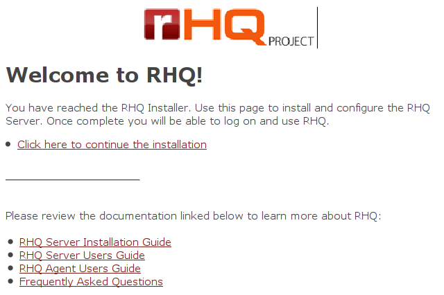 Ekran powitalny RHQ Server