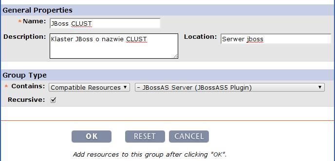 RHQ Server - definiowanie grupy