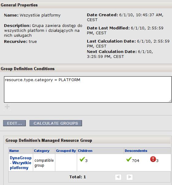 """RHQ Server - definicja grupy """"Wszystkie platformy"""""""
