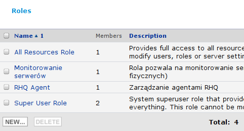 RHQ Server - lista dostępnych ról