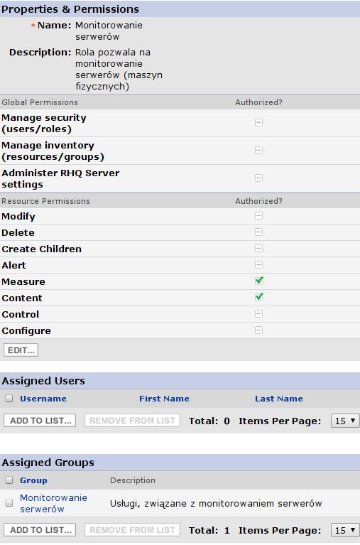 RHQ Server - definicja roli Monitorowanie serwerów