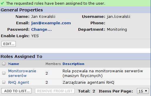 RHQ Server - zdefiniowany użytkownik