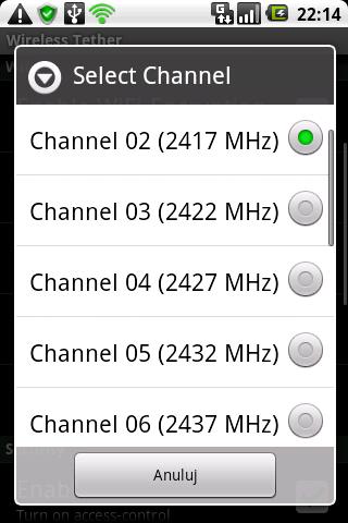 Wireless Thether - Zmiana kanału