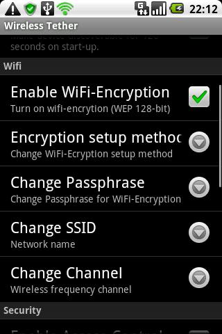 Wireless Thether - Włączenie szyfrowania WEP