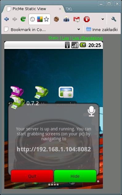 PickMe - połączenie przez przeglądarkę
