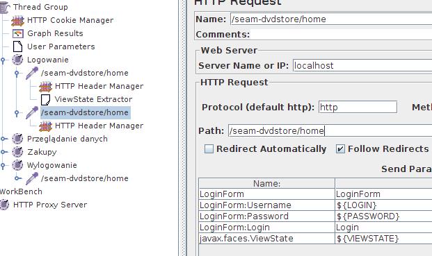 JMeter - modyfikacja formularza logowania